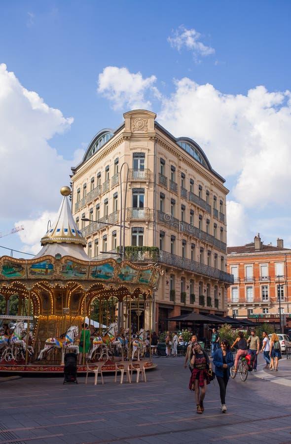 Area del pedone di girotondo della città di Tolosa fotografia stock