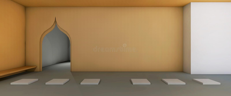 Area del salotto di yoga e la meditazione semplice illustrazione vettoriale