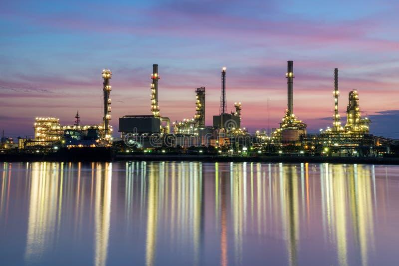 Area della pianta della raffineria di petrolio fotografie stock