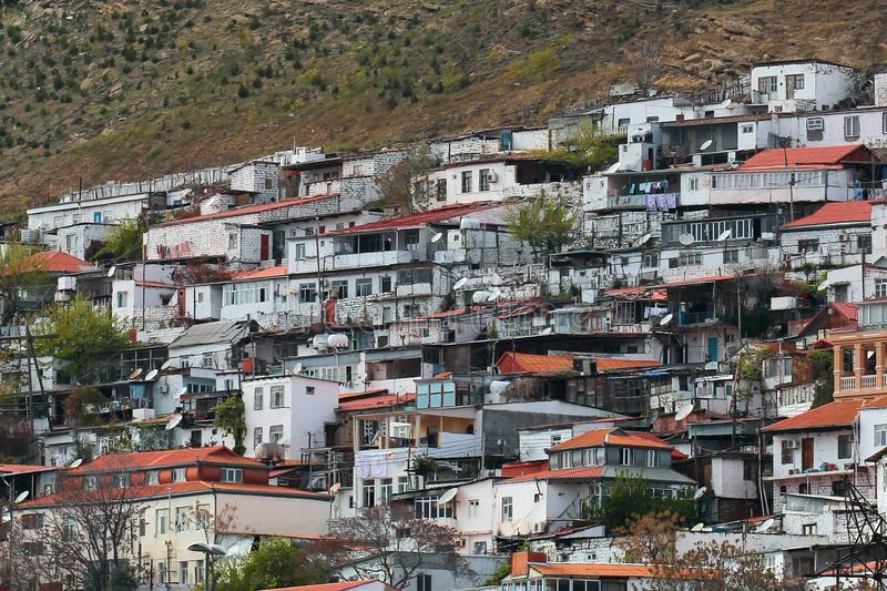Area di abitazione privata in quartieri residenziali periferici di Bacu, Azerbaigian fotografia stock libera da diritti