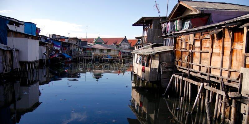 Area di bassifondi di Jakarta fotografia stock libera da diritti