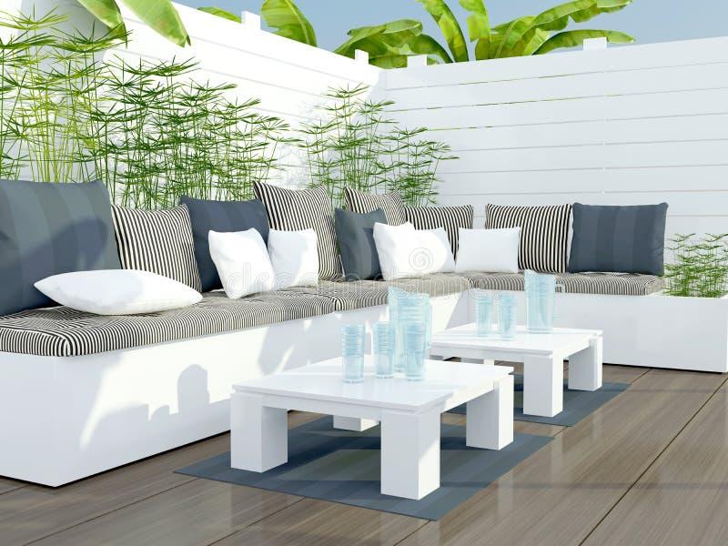 Area di disposizione dei posti a sedere all'aperto del patio. illustrazione vettoriale