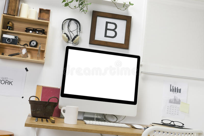 Area di lavoro creativa moderna. fotografia stock