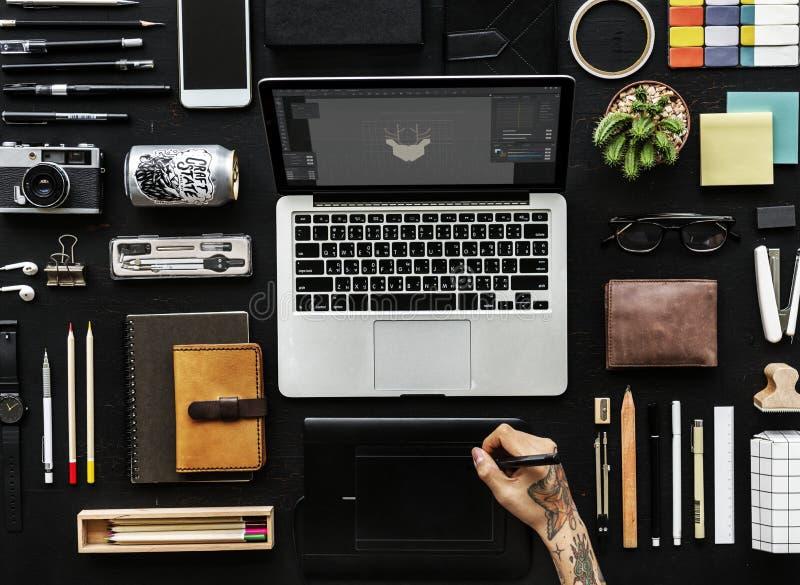 Area di lavoro dei grafici di Digital fotografia stock libera da diritti