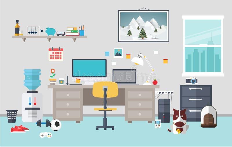 Area di lavoro del progettista nella stanza di lavoro illustrazione vettoriale