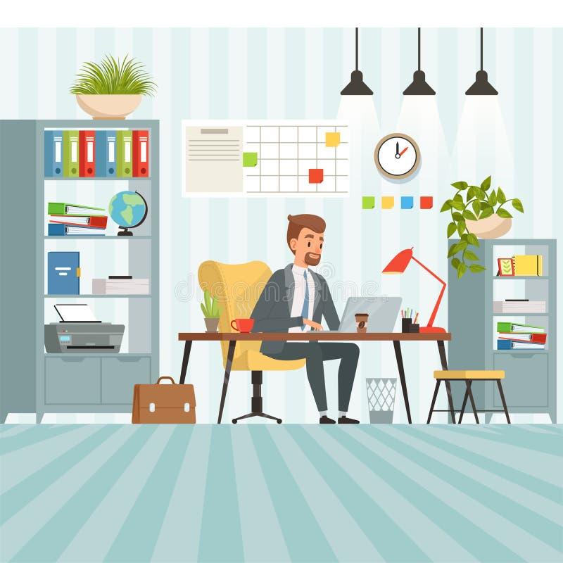 Area di lavoro dell'uomo d'affari occupato Responsabile di società o del capo che si siede alla tavola illustrazione vettoriale