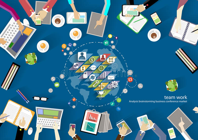 Area di lavoro di vettore per le riunioni d'affari ed il 'brainstorming' Concetti tradizionali ed insegne di web, stampa e tecnol illustrazione vettoriale