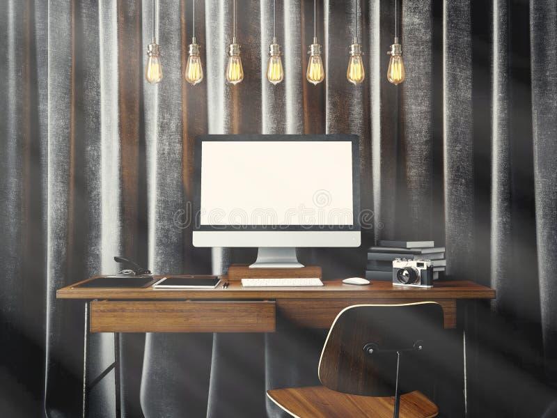 Area di lavoro nel sottotetto coworking del moder con il computer generico di progettazione ed elementi marcanti a caldo sulla ta illustrazione di stock