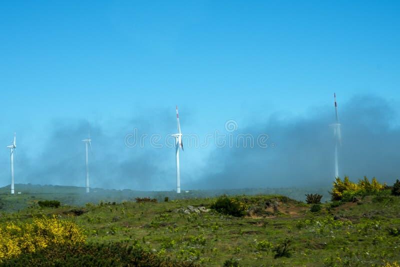 Area di Misty Flat Plateau con i generatori eolici nelle montagne nel Nord dell'isola del Madera fotografie stock