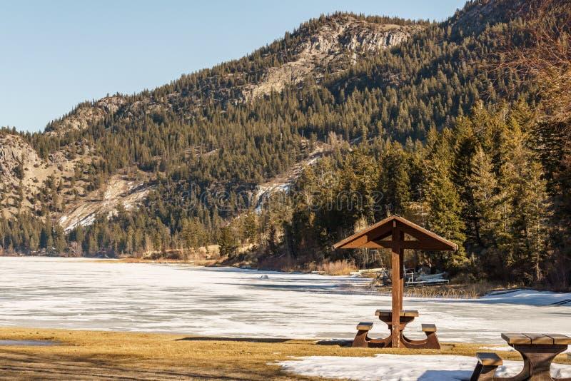 Area di picnic al distretto regionale del lago columbia di Kootenay orientale Canada fotografie stock