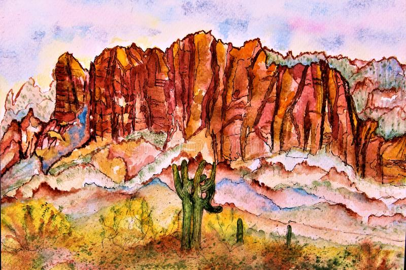 Area di regione selvaggia delle montagne di superstizione dell'acquerello Phoenix Arizona fotografia stock