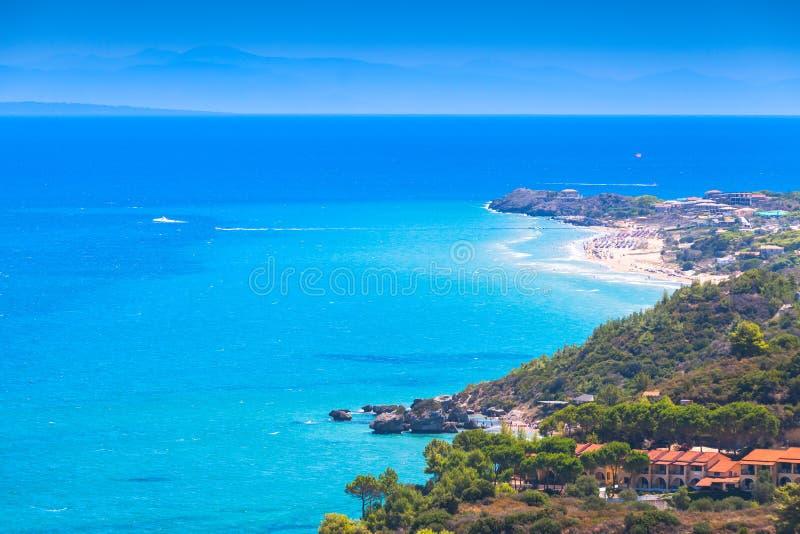 Area di Vasilikos, paesaggio costiero di Zacinto immagini stock libere da diritti