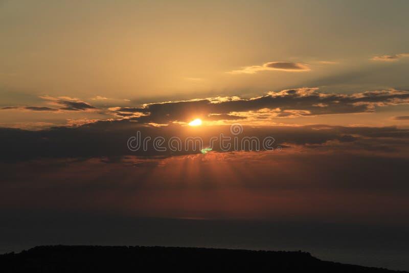 Area egea - tramonto al mar Egeo fotografia stock libera da diritti