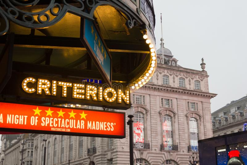 The Piccadilly Circus and Criterion Restaurant sign, London, UK stock images