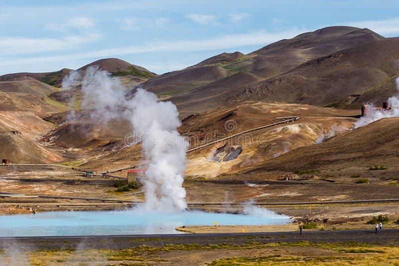 Area geotermica di Hverir nel Nord dell'Islanda vicino al lago Myvatn fotografia stock libera da diritti