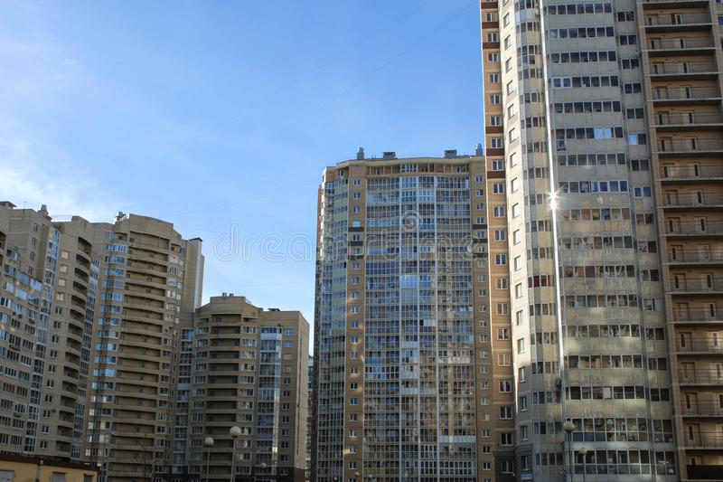 Area with high-rise buildings. New residential buildings in St. Petersburg are mostly high-rise. Low cost of apartments, high population density and royalty free stock photography