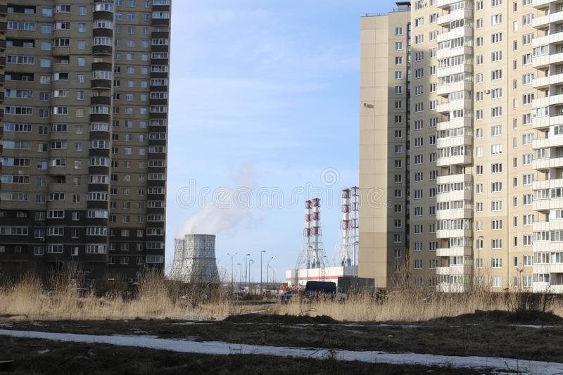 Area with high-rise buildings. New residential buildings in St. Petersburg are mostly high-rise. Low cost of apartments, high population density and royalty free stock photo