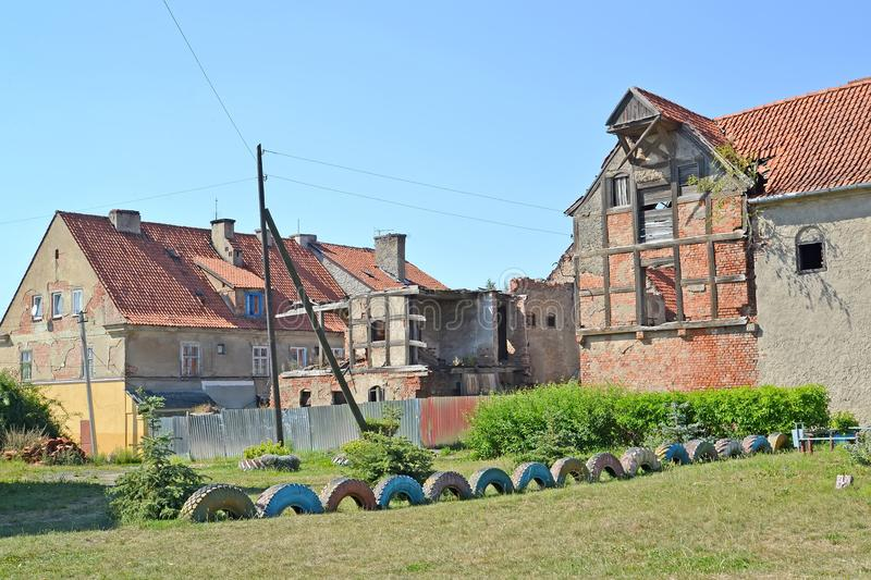 The area of historical building with ruins of houses. Zheleznodorozhnyj, Kaliningrad region.  royalty free stock photography