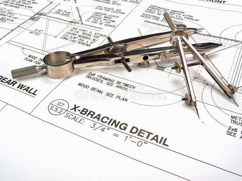 Area lavoro, strumenti e cianografie dell'architetto immagini stock libere da diritti