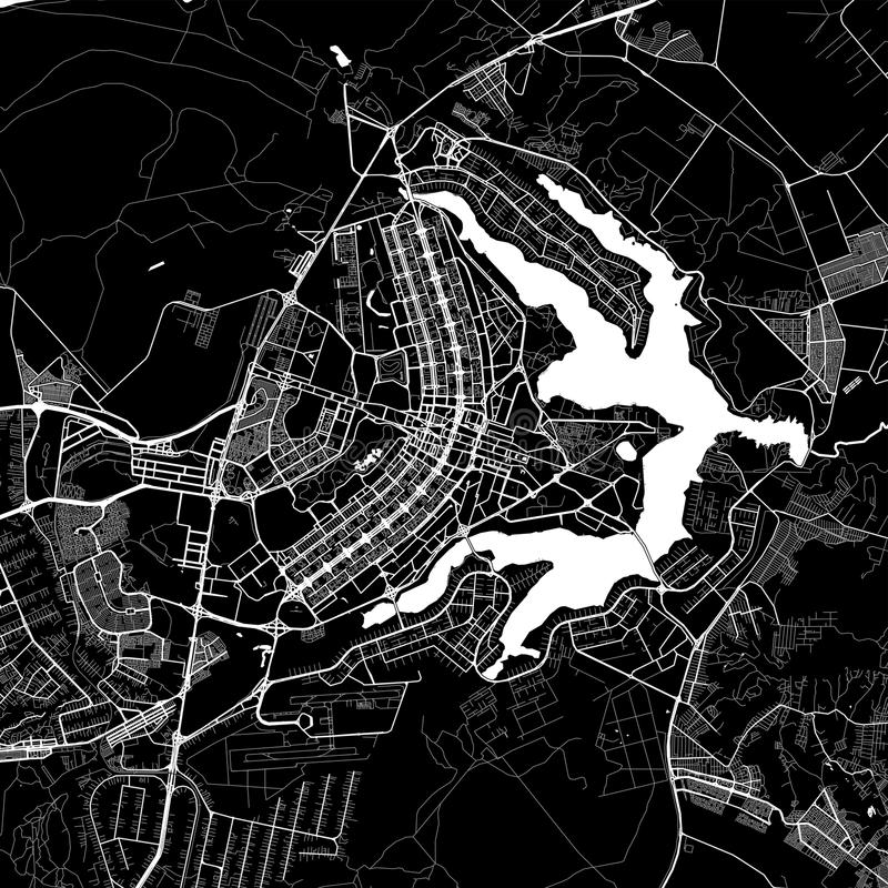 Area map of Brasília, Brazil. Dark background version for infographic and marketing projects. This map of Brasília,  Distrito Federal, contains royalty free illustration
