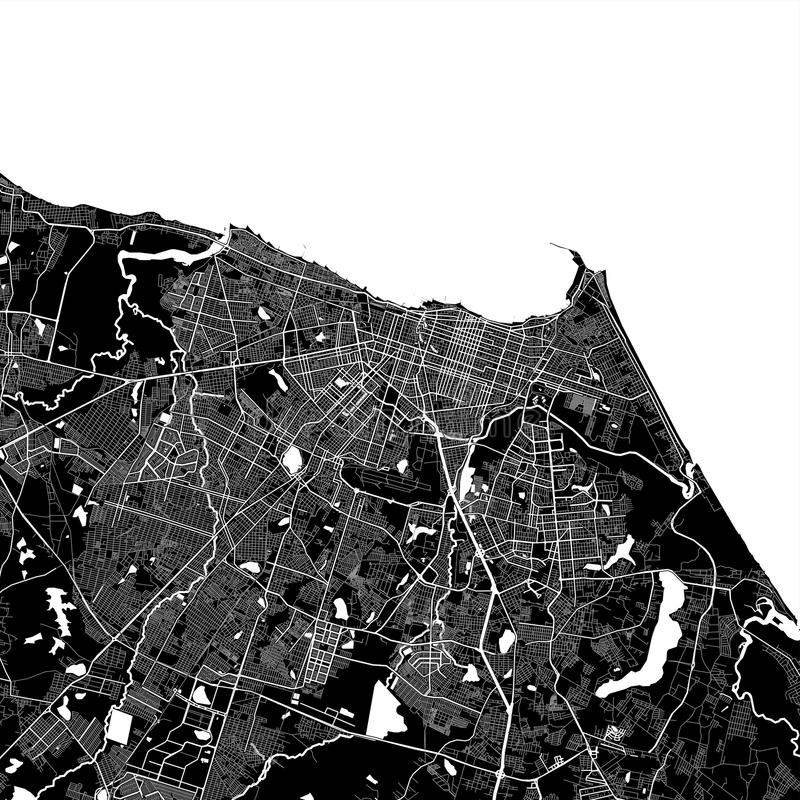 Area map of Fortaleza, Brazil. Dark background version for infographic and marketing projects. This map of Fortaleza,  Ceará, contains typical landmarks vector illustration