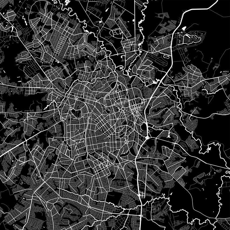 Area map of Goiânia, Brazil. Dark background version for infographic and marketing projects. This map of Goiânia,  Goiás, contains typical vector illustration