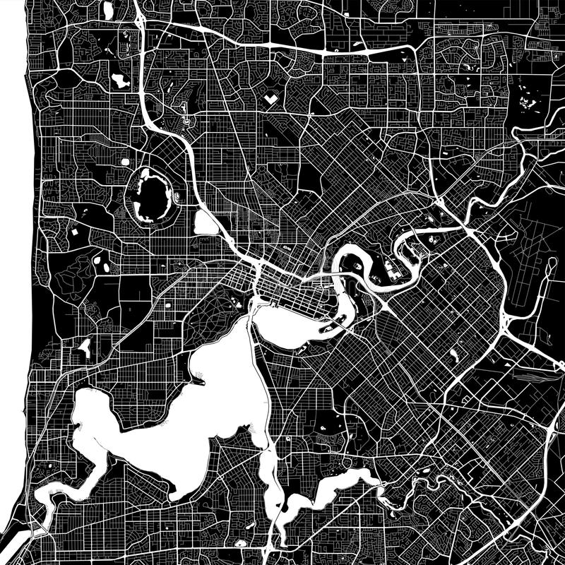 Area map of Perth, Australia. Dark background version for infographic and marketing projects. This map of Perth, Western Australia, contains typical landmarks stock illustration
