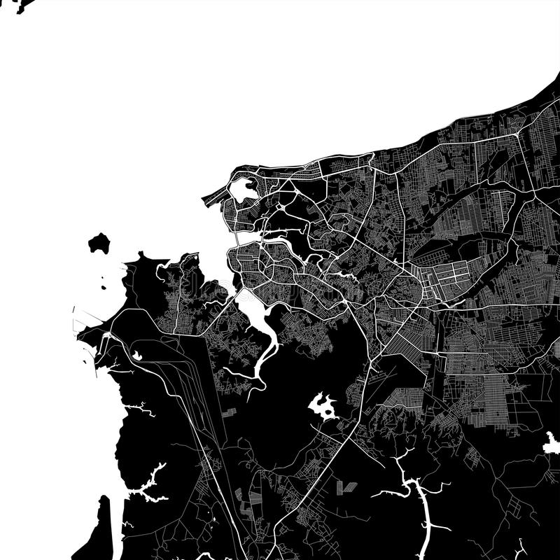 Area map of São Luís, Brazil. Dark background version for infographic and marketing projects. This map of São Luís,  Maranhão, contains vector illustration
