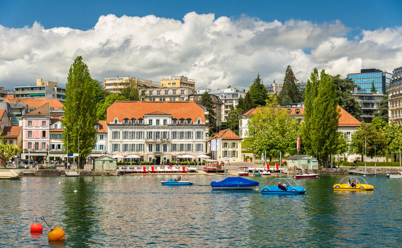 Area near the lake in Lausanne. Switzerland royalty free stock images