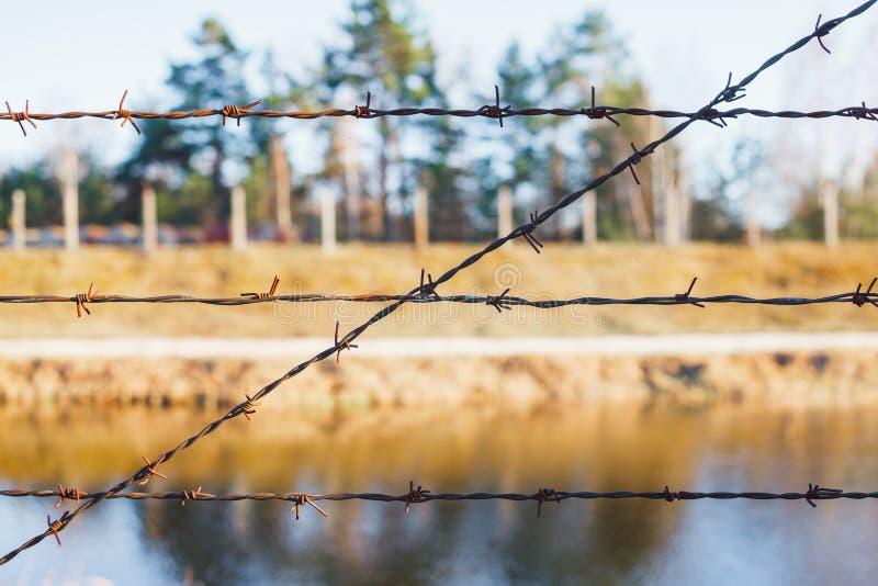 Area pericolosa recintata con il recinto del filo spinato immagine stock