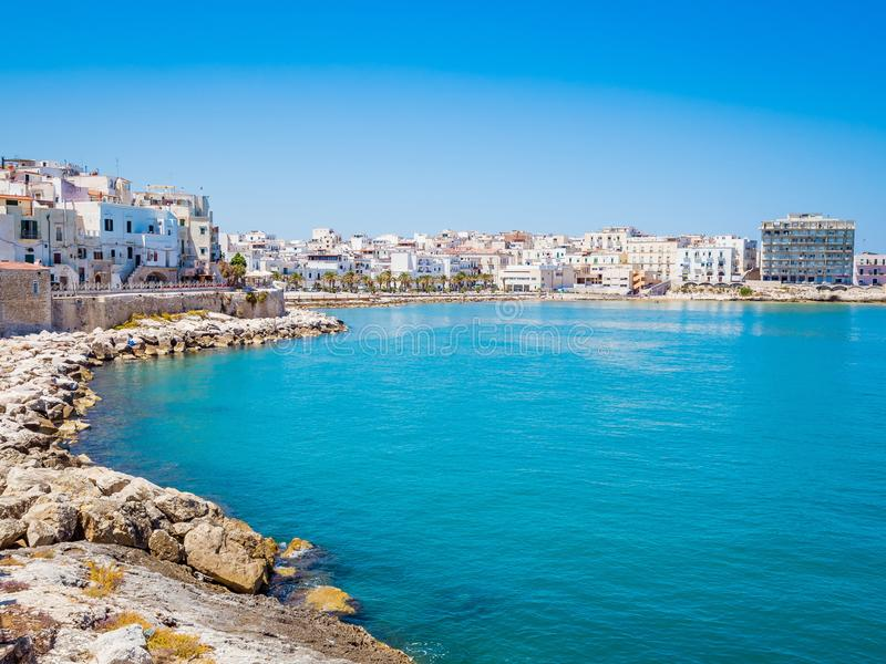 Area of the port of Vieste, Gargano, Puglia. The coast of Gargano houses numerous beaches and tourist facilities royalty free stock photography