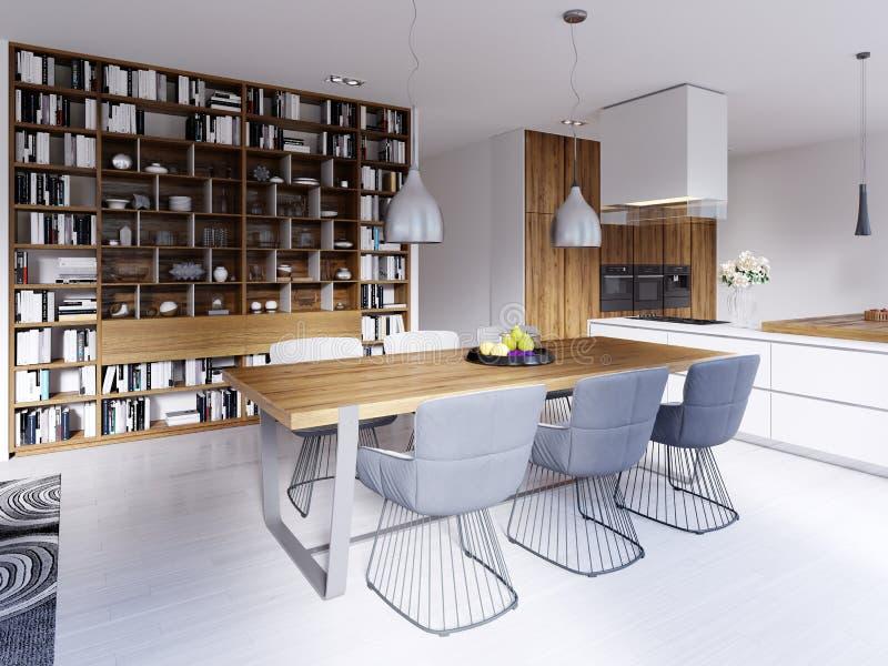 Area pranzante con una tavola moderna del progettista con sei sedie in uno stile del sottotetto Grandi scaffali incorporati per i illustrazione di stock