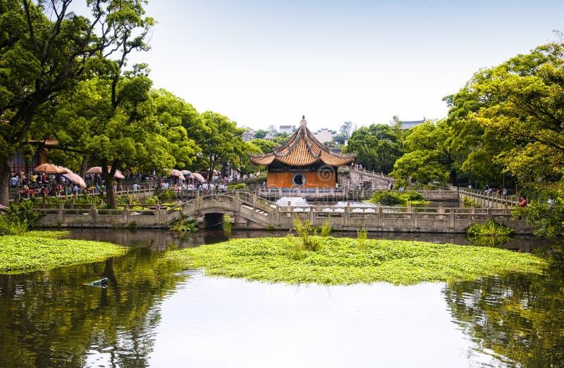 Area scenica del tempio di Puji dello stagno di Haiyin immagini stock