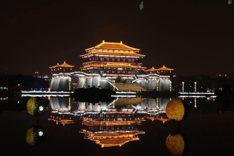 Area scenica di Datang Furongyuan, Cina, stile cinese, città cinese dell'acqua, villaggio fotografie stock libere da diritti