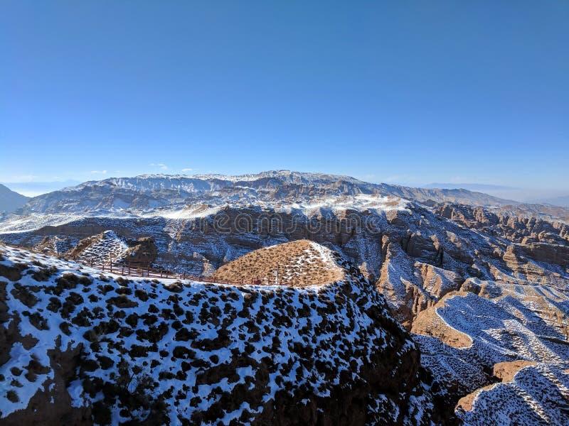 Area scenica di Grand Canyon della montagna di Pinghu, provincia di Gansu, Cina fotografia stock