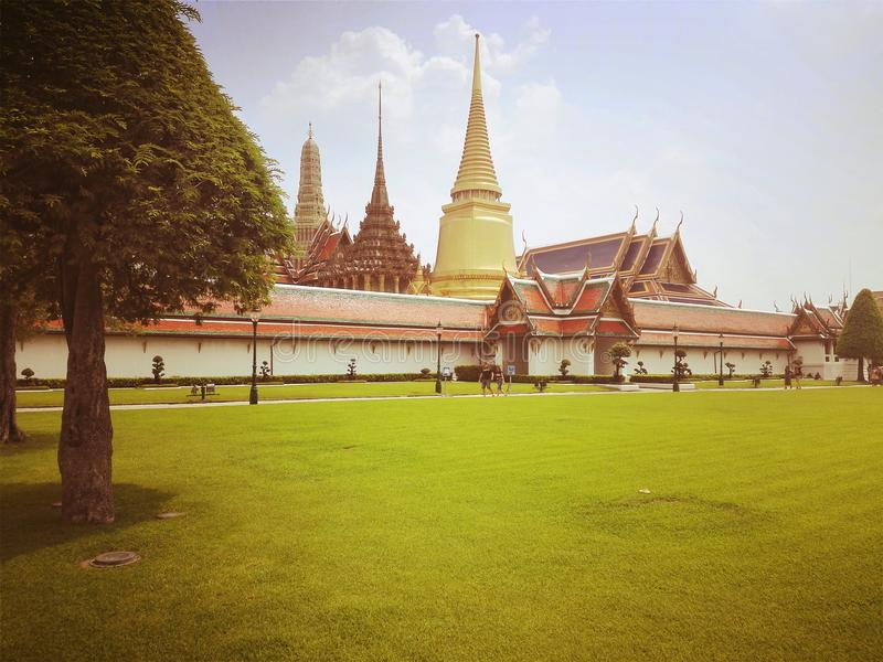 The area of The Temple of The Emerald Buddha and the Grand Palace stock images