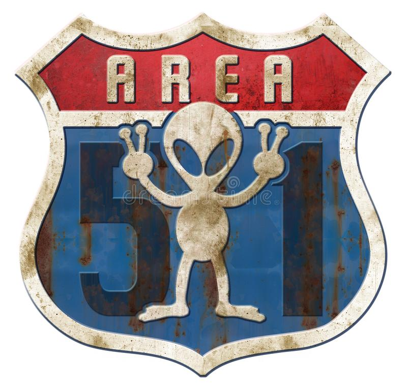 Area 51 Tin Higway Sign royalty illustrazione gratis