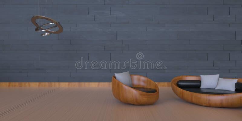 Area vivente bella e semplice con gli elementi artistici/muro di mattoni moderno royalty illustrazione gratis