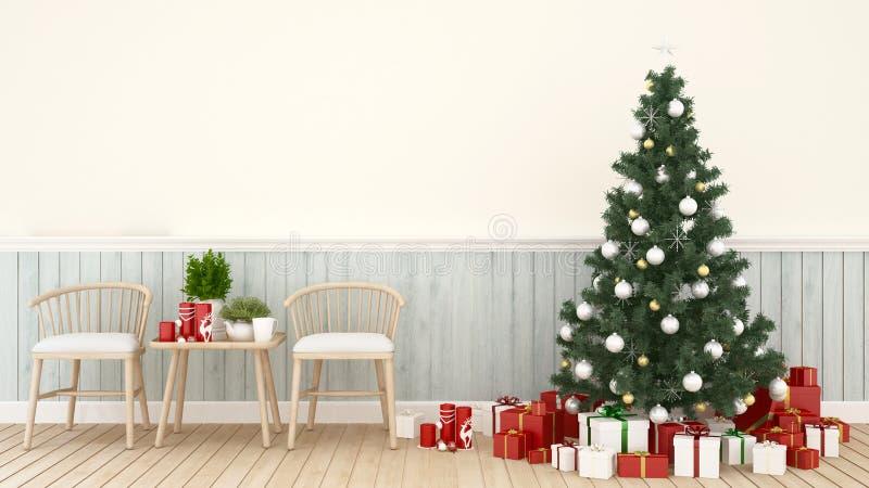 Area vivente con l'albero di Natale ed il contenitore di regalo in salone - materiale illustrativo per la rappresentazione anno f immagine stock