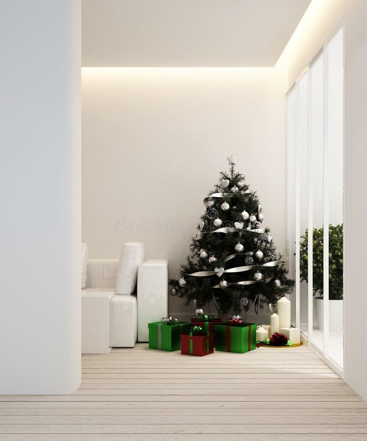 Area vivente ed albero di Natale in appartamento o nell'interior design di casa - rappresentazione 3D immagini stock