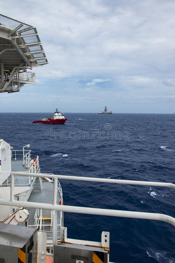 Area of work offshore on the high seas. The oil industry stock image