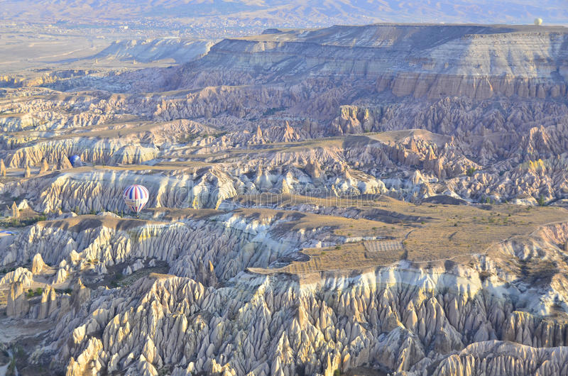 Areal Cappadocia. Cappadocia, Turkey from above with it's many mesas and valleys stock images