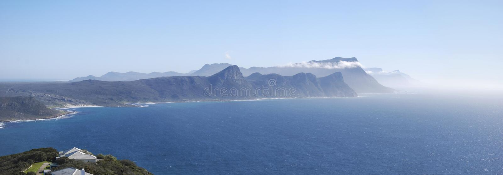 Areal like view of cape point panoramic wide shot royalty free stock images