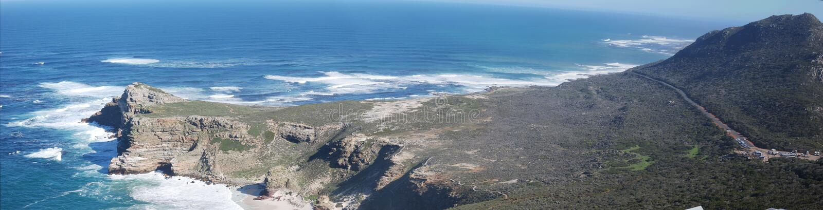 Areal like view of cape point panoramic wide shot royalty free stock image