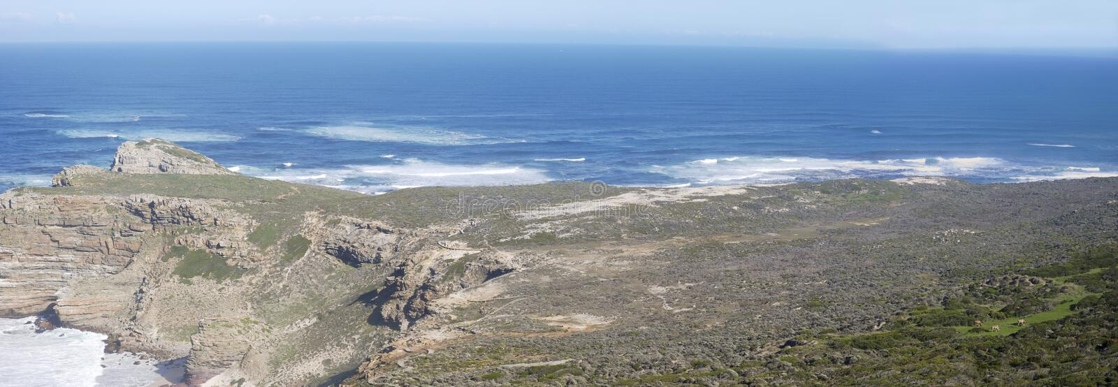 Areal like view of cape point panoramic wide shot royalty free stock photography
