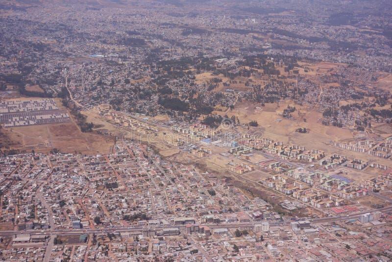 Areal sikt av Addis Ababa arkivfoto
