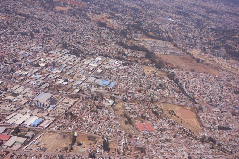 Areal sikt av Addis Ababa fotografering för bildbyråer
