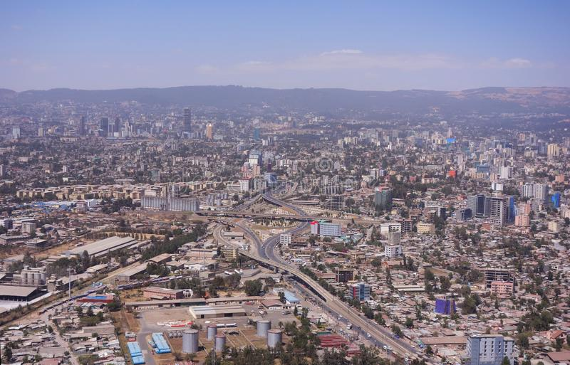 Areal sikt av Addis Ababa royaltyfri foto