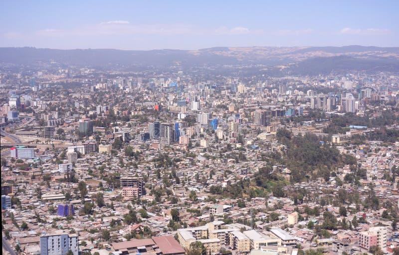 Areal sikt av Addis Ababa royaltyfri bild