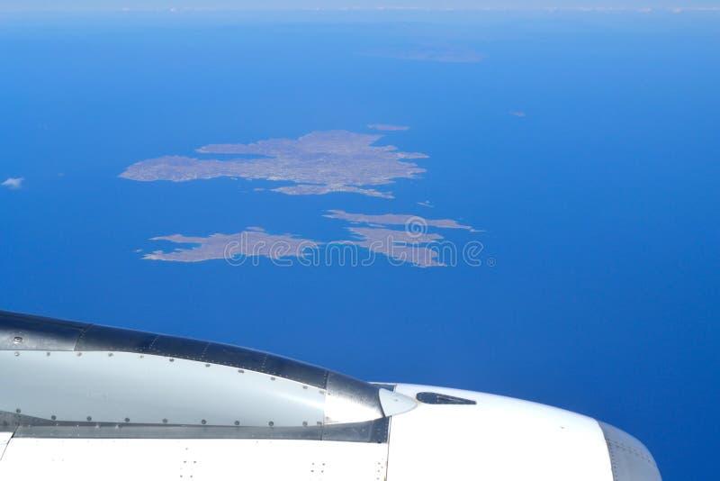 Areal sikt Grekland för flygflygplanCyclades öar arkivfoto